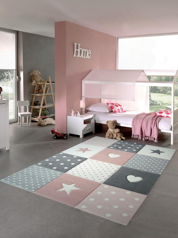 Carpetia.de - Teppich für Kinderzimmer mit Stern, Herz: Pflegeleicht ...