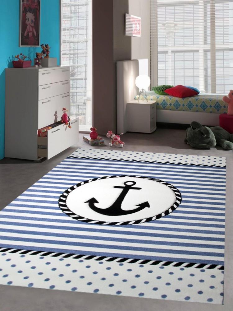 Teppich Kinderzimmer Babyzimmer Jungen Anker Maritim Blau Creme