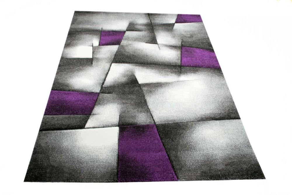 modern tapis poil ras tapis de salon r sum karo noir gris blanc violet ebay. Black Bedroom Furniture Sets. Home Design Ideas
