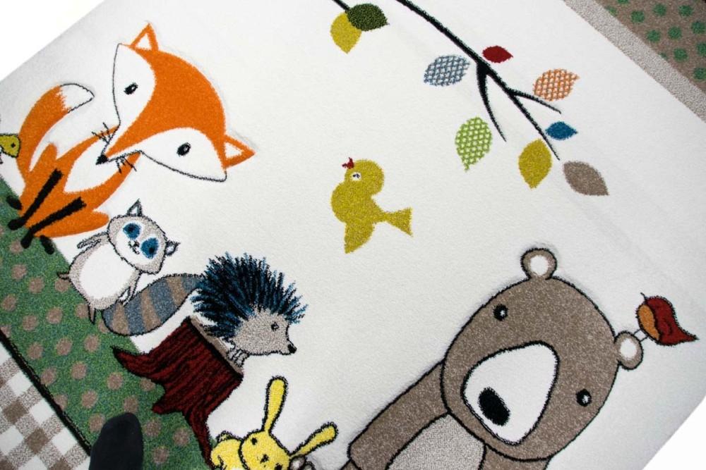 Kinderteppich Spielteppich Babyzimmer Teppich Tiere Bär Fuchs Igel Eule  Beige Braun