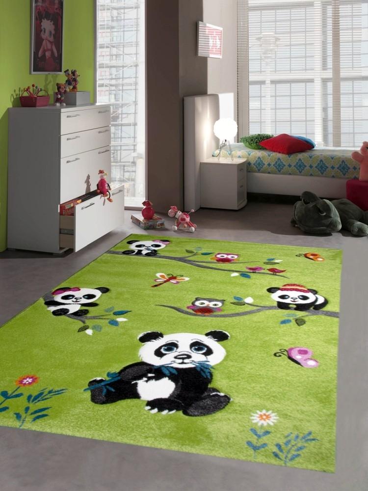 teppich f r kinderzimmer mit pandab ren pflegeleicht allergiker geeignet und. Black Bedroom Furniture Sets. Home Design Ideas