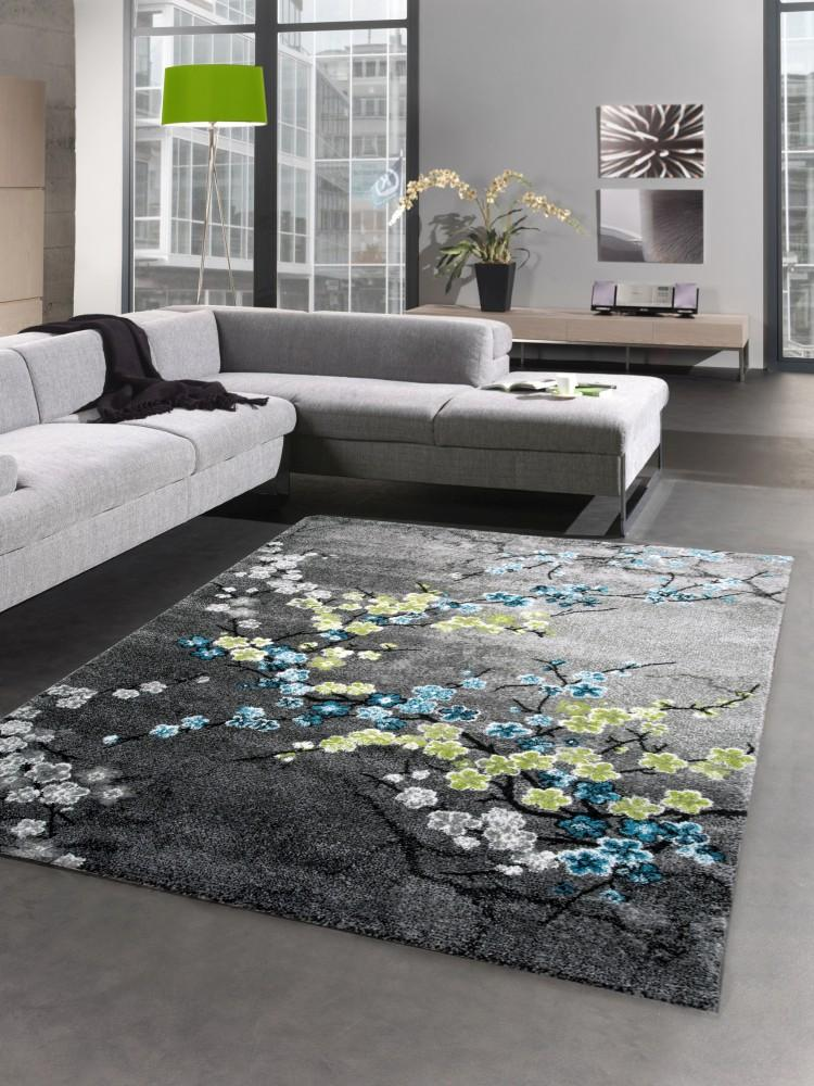 designer teppich kurzflor wohnzimmerteppich blumen grau t rkis blau ebay. Black Bedroom Furniture Sets. Home Design Ideas