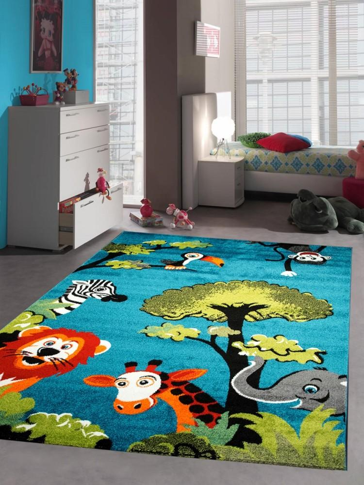 kinderteppich spielteppich kinderzimmer teppich zootiere elefant giraffe l we ze ebay. Black Bedroom Furniture Sets. Home Design Ideas