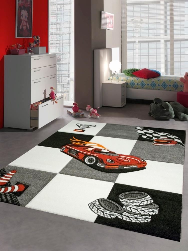 Tappeto bambini macchina da corsa rosso nero ebay for Costo per aggiungere garage e stanza bonus