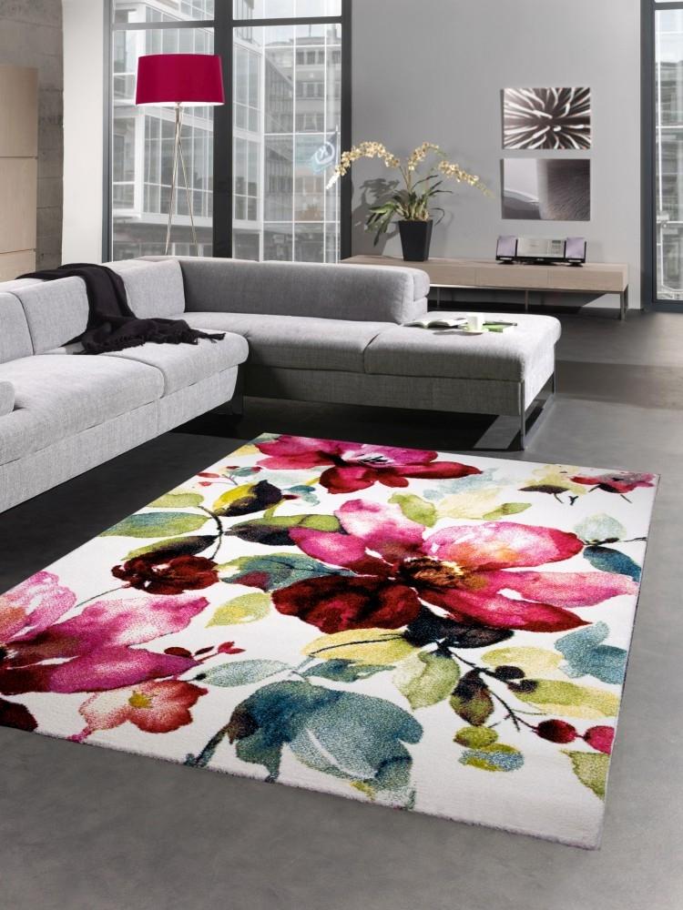 modern tapis poil ras tapis de salon p tales de fleurs. Black Bedroom Furniture Sets. Home Design Ideas