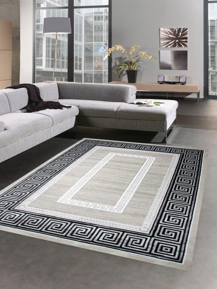 Designer Teppich Wohnzimmerteppich Versace Muster Grau Schwarz