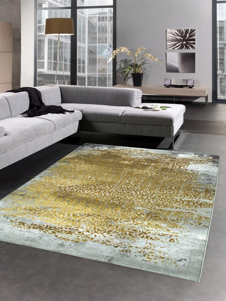 Moderner Teppich Antik Vintage Ornamente grau senfgelb gold | eBay