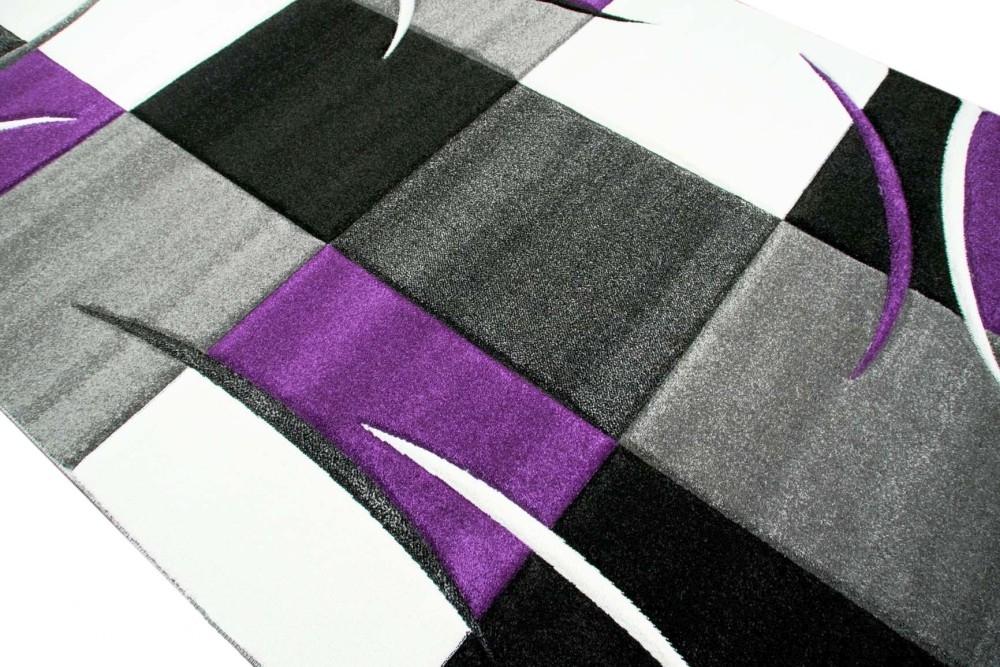 designer teppich wohnzimmerteppich karo lila grau creme schwarz ebay. Black Bedroom Furniture Sets. Home Design Ideas