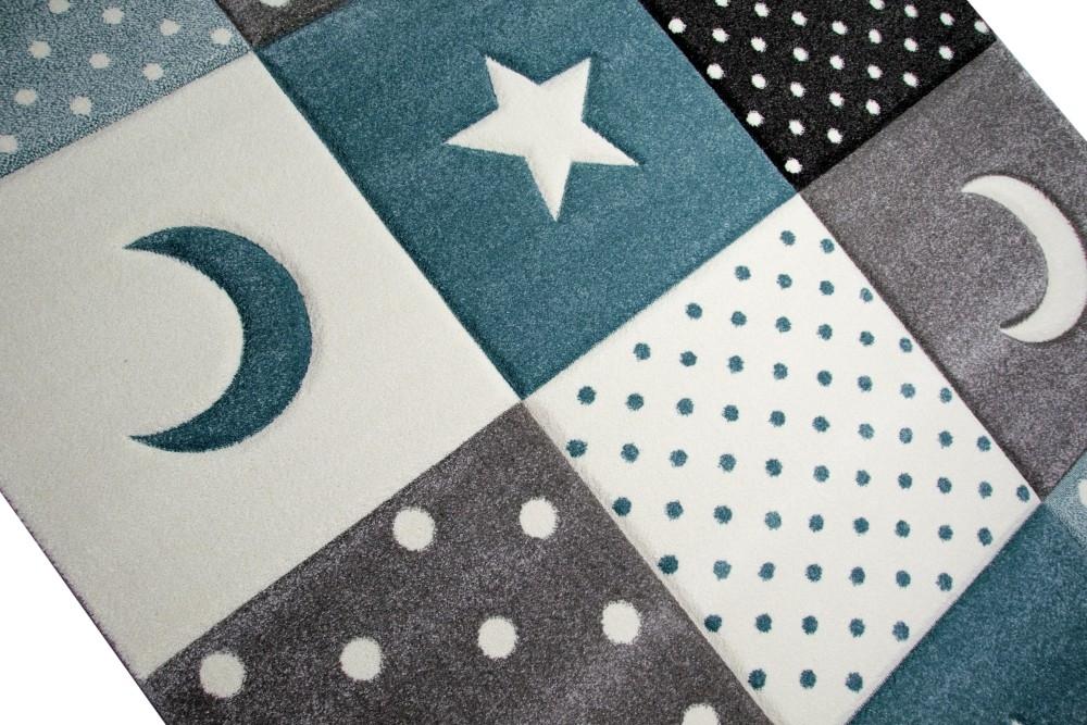 Kinderteppich Spielteppich Babyteppich Junge Stern Mond in blau hellblau t/ürkis Gr/ö/ße 80x150 cm
