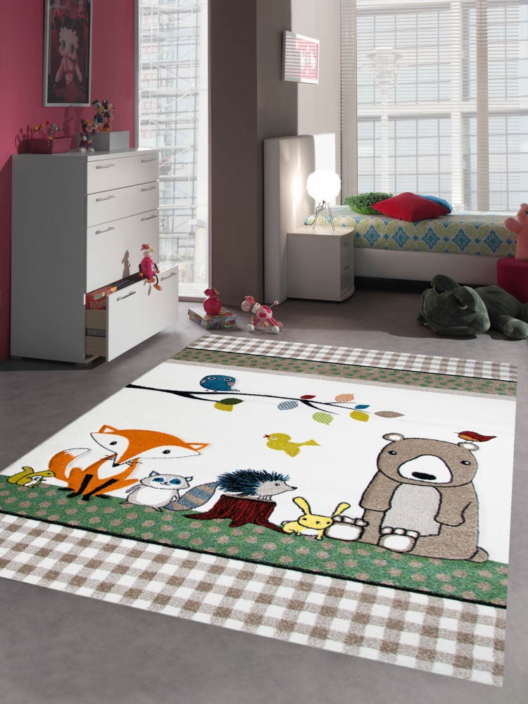 kinderteppich spielteppich babyzimmer teppich tiere b r fuchs igel eule beige br ebay. Black Bedroom Furniture Sets. Home Design Ideas