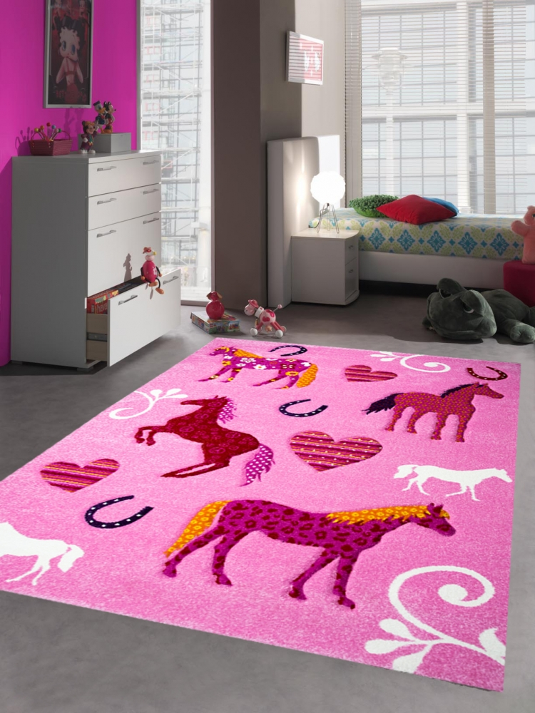 kinderteppich spielteppich kinderzimmer teppich pferde pink rosa ebay. Black Bedroom Furniture Sets. Home Design Ideas