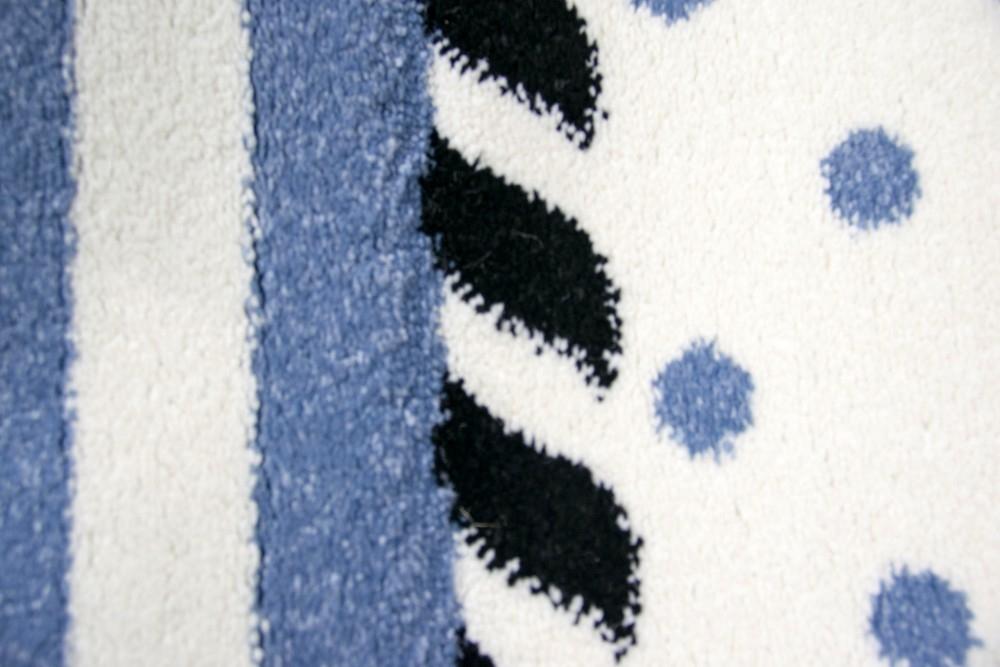 Carpetia Teppich Kinderzimmer Babyzimmer Jungen Anker Maritim Blau Crème Schwarz Größe 80x150 cm