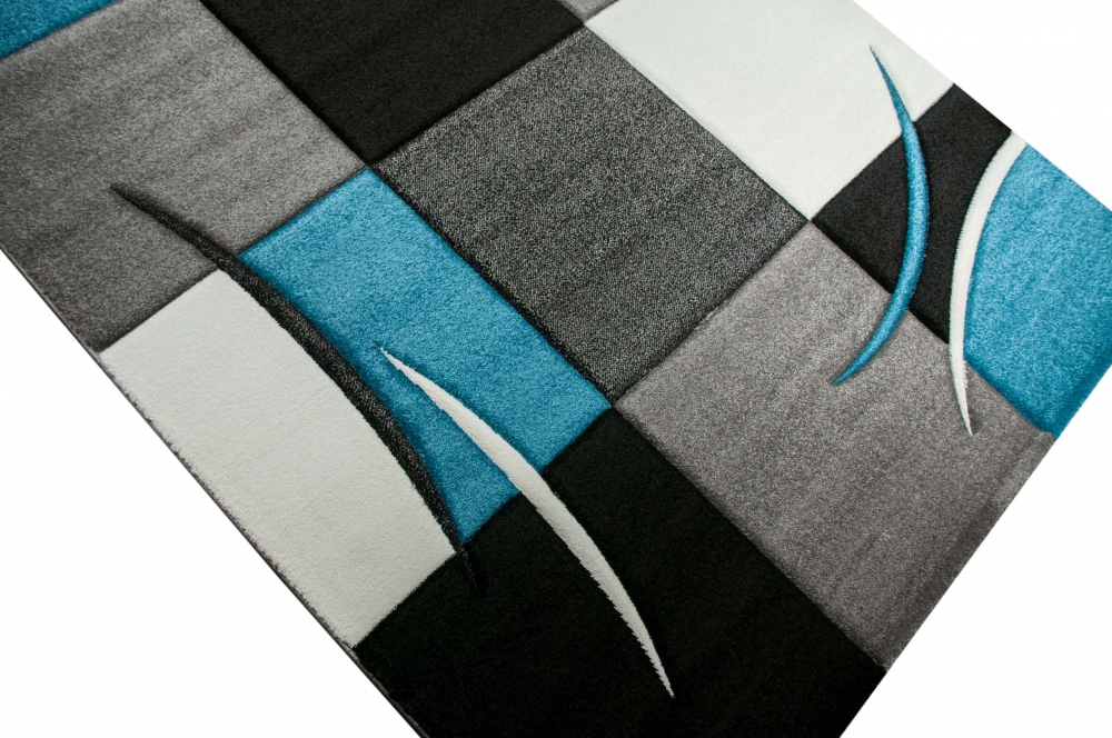 Alfombra dise ador karo turquesa gris blanco negro ebay for Alfombra gris y turquesa