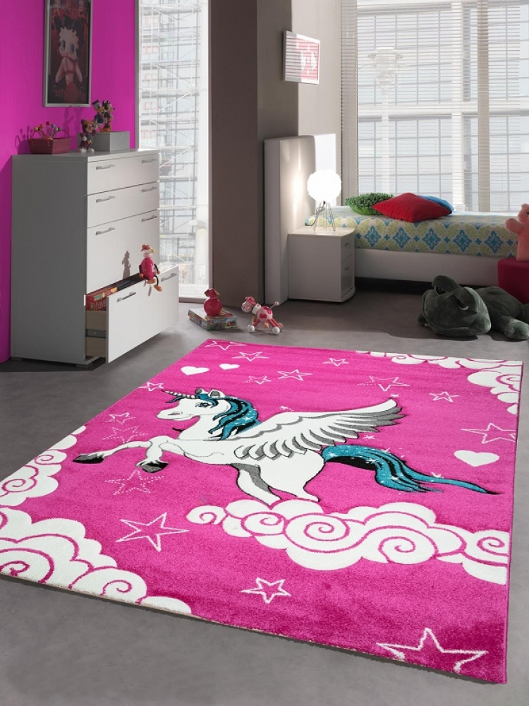 kinderteppich spielteppich m dchen einhorn pink ebay. Black Bedroom Furniture Sets. Home Design Ideas