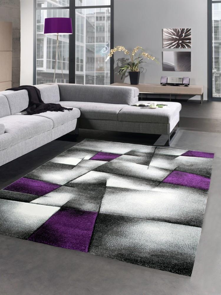 Modern tapis poil ras tapis de salon r sum karo noir gris for Tapis salon poil ras