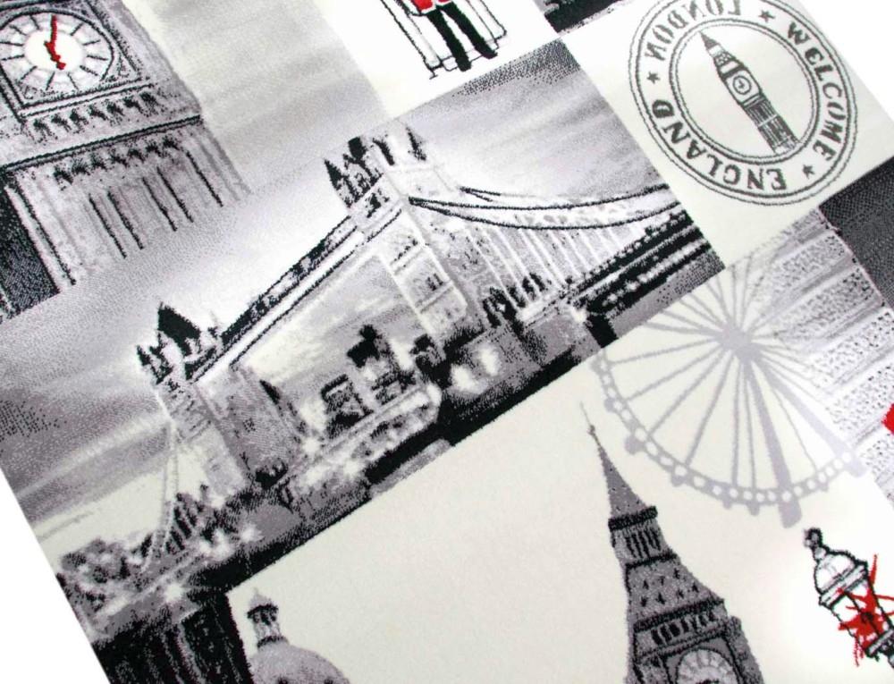 designer teppich london motiv grau rot schwarz ebay. Black Bedroom Furniture Sets. Home Design Ideas