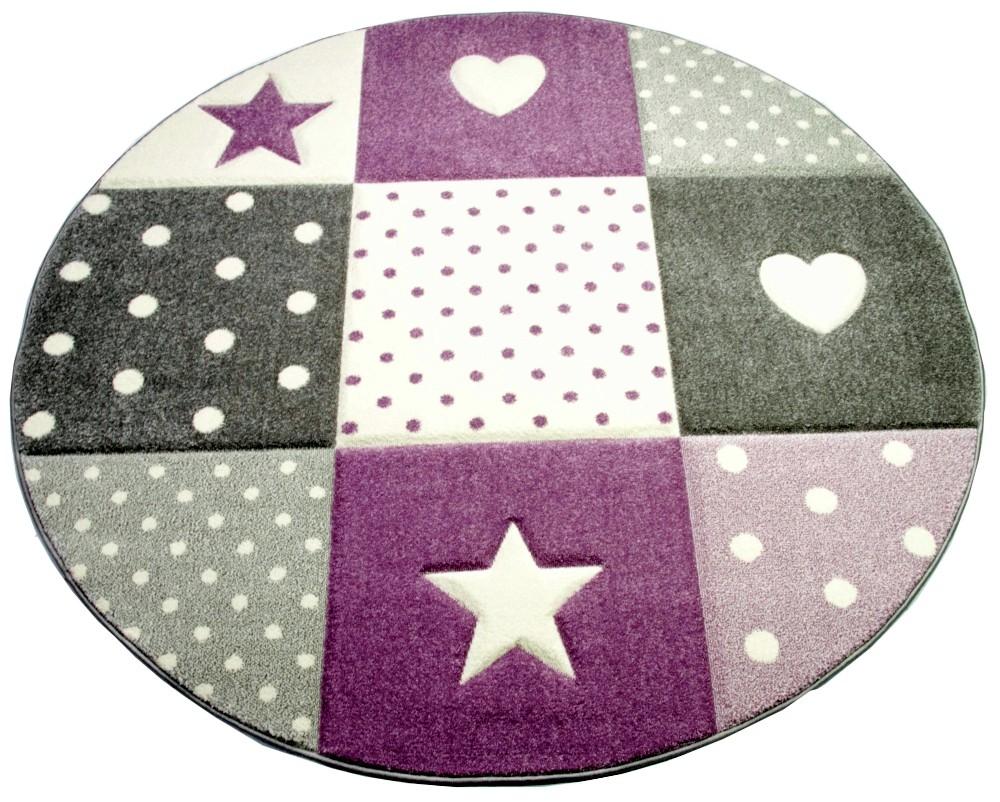CARPETIA Kinderteppich Spielteppich Babyteppich M/ädchen mit Herz Stern lila Creme grau Gr/ö/ße 80x150 cm
