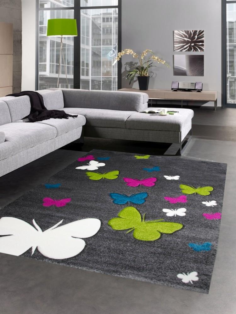 Carpetia.de - Teppich für Kinderzimmer mit Schmetterlingen ...