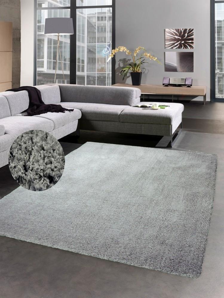 shaggy soft teppich hochflorteppich weich bettvorleger uni grau ebay. Black Bedroom Furniture Sets. Home Design Ideas