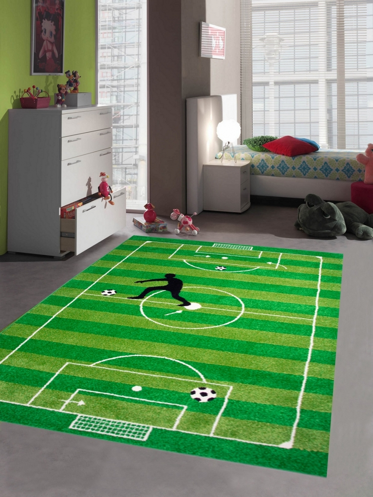 kinderteppich spielteppich jungen kinderzimmer teppich fu ball gr n ebay. Black Bedroom Furniture Sets. Home Design Ideas